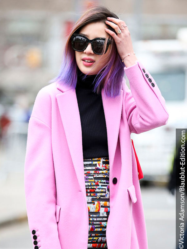 Woman with Ultra Violet hair and jacket