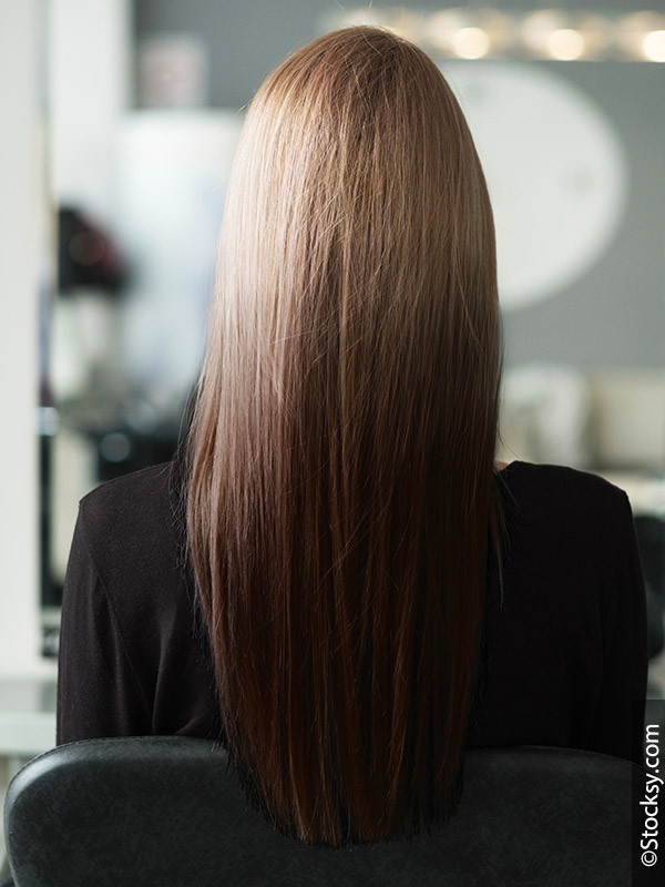 Woman with Reverse Balayage from behind