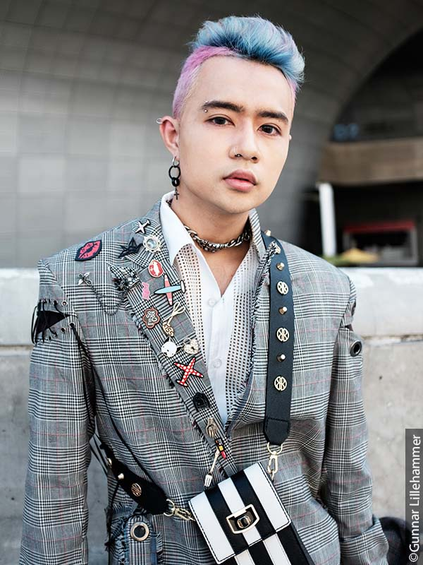 Man with pastel rockabilly hair