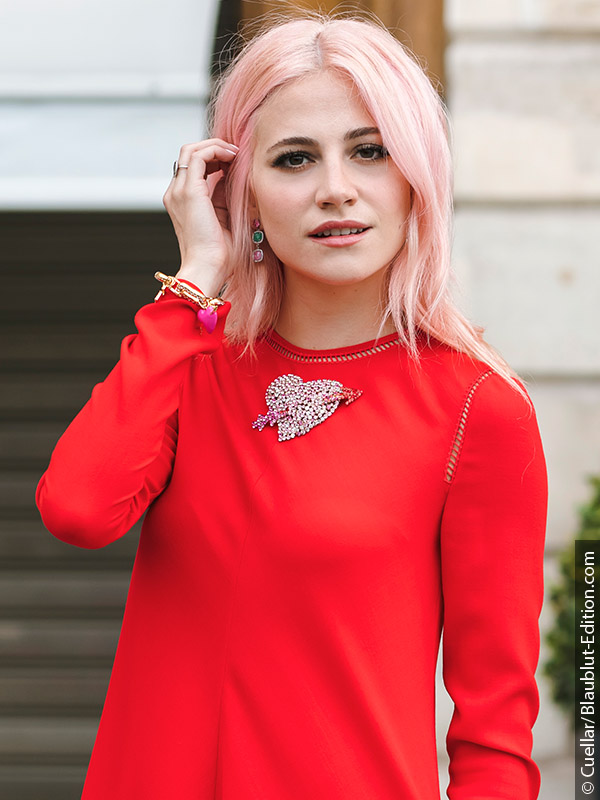 Woman with pastel hair and red top