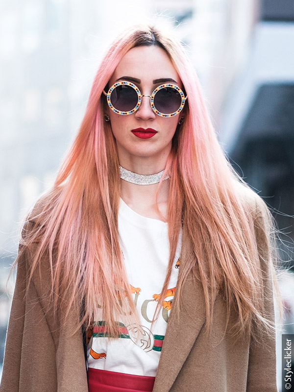 Woman with pastel hair and sunglasses