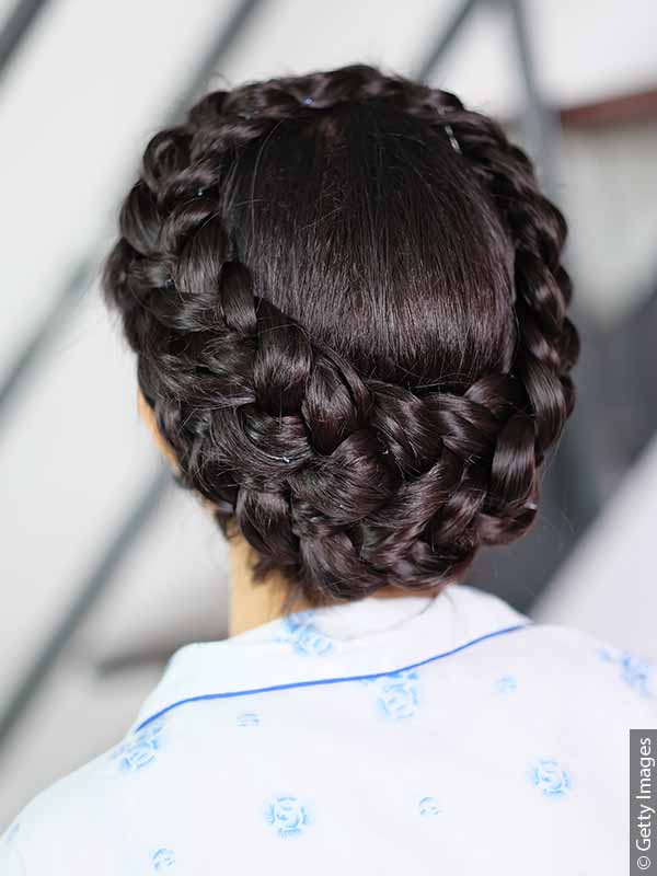 Back view of woman with crown braid