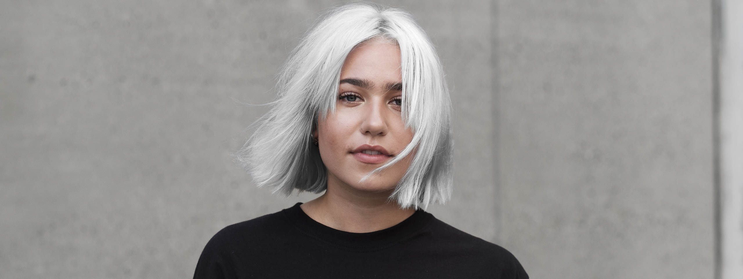 Woman with metallic silver hair