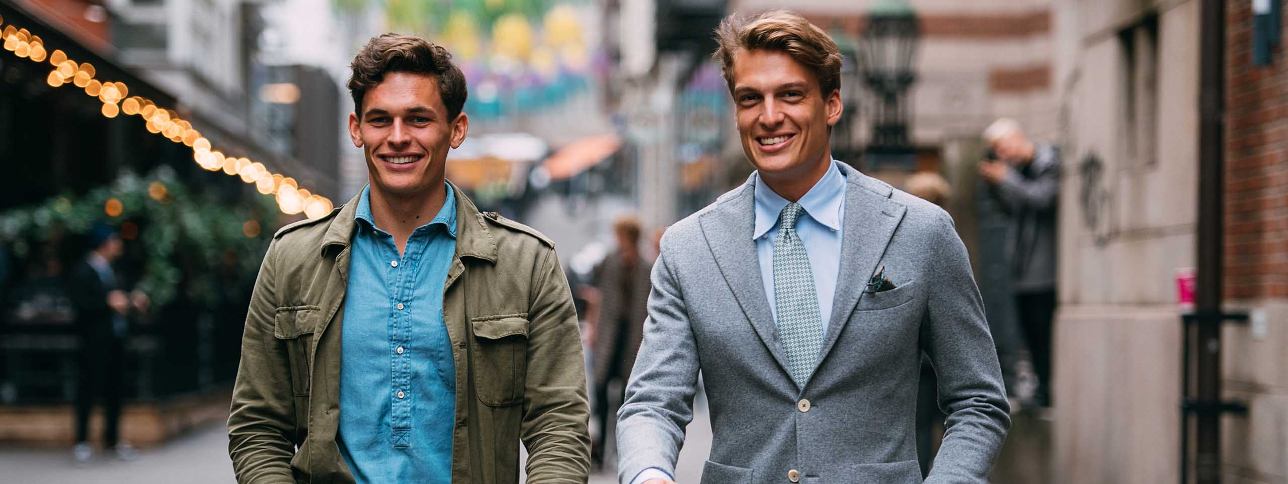 Two men in business wear with business hairstyles