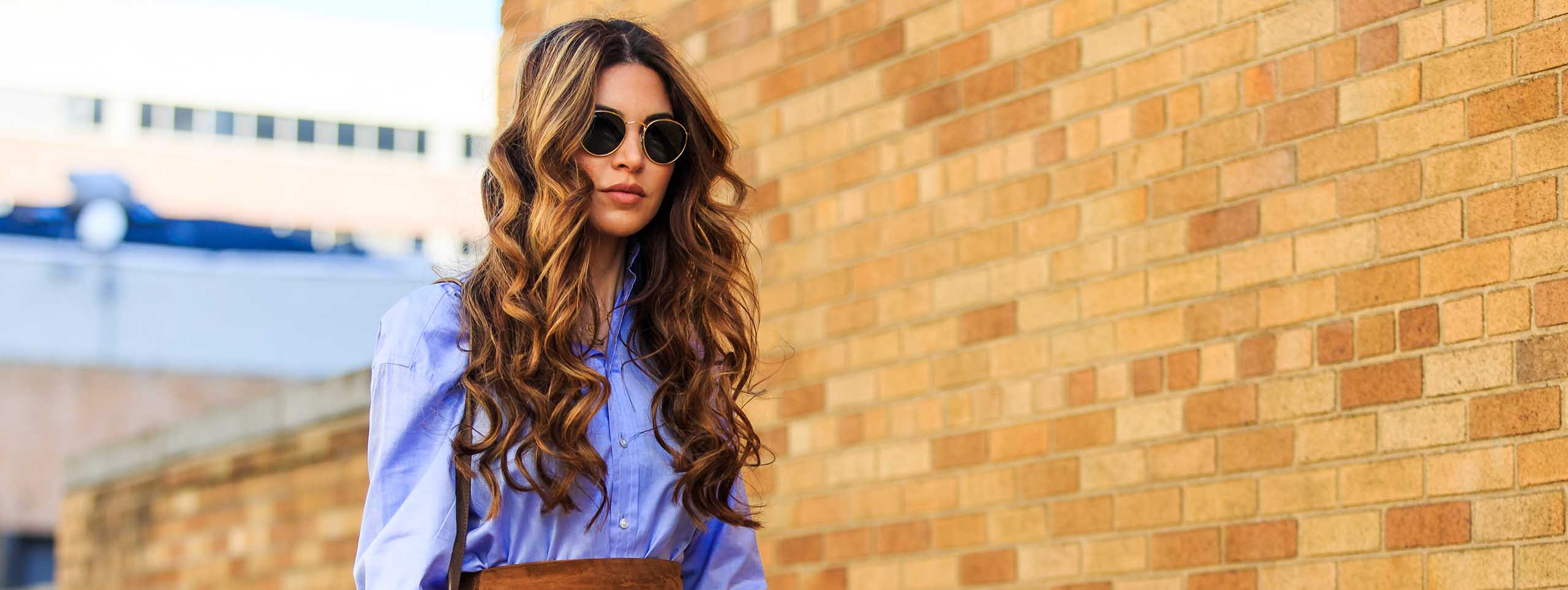 Woman with undone wavy hairstyle
