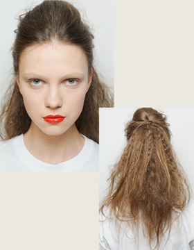 2015/2016 Fall/Winter: Crimped Hair Styled into a Semi-Updo