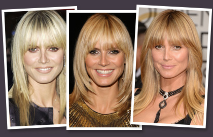 heidi klum wearing hairstyles with fringes. Black Bedroom Furniture Sets. Home Design Ideas
