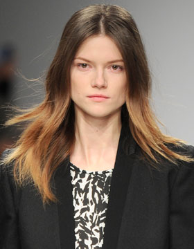 Style with Centre Parting for Two-Tone Hair