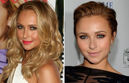 Hayden Panettiere's has used hair gel to create her glamorous short hair style