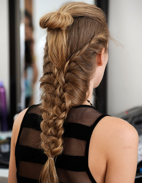 Ponytail with Braids and Looped Semi Chignon